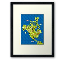 cartoon map of North America Framed Print