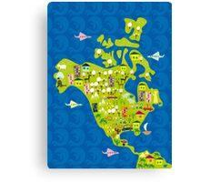 cartoon map of North America Canvas Print