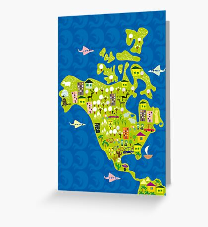 cartoon map of North America Greeting Card