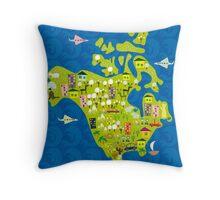 cartoon map of North America Throw Pillow