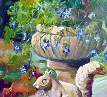Stone squirrel plantpot by Saga Sabin