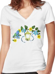 Blue Bird and Blue Flower Women's Fitted V-Neck T-Shirt