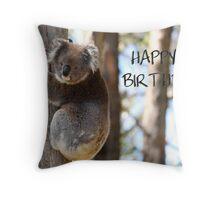 Happy Birthday Koala Throw Pillow