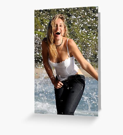 seaside portrait and corset Greeting Card