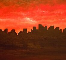 Working Late (Acrylic) by Randall Stevens