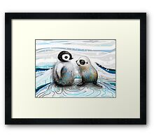 Penguin Chick and Baby Seal Framed Print