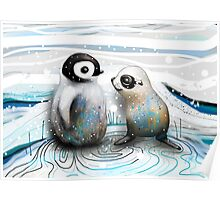 Penguin Chick and Baby Seal Poster