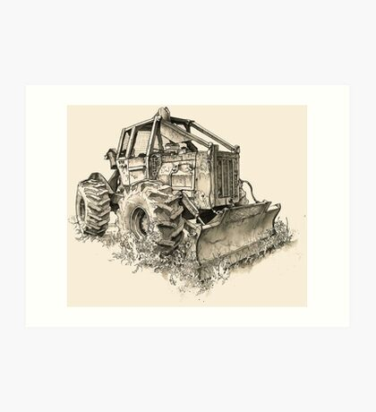 Log Tractor - Ink Art Print