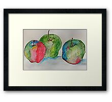 Three colourful apples Framed Print