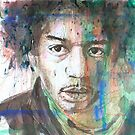 Unfinished doddle/ watercolour of the icon Jimi Hendrix by LoveringArts