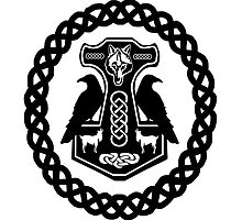 Wolf and Goats Thor's Hammer with Ravens by imphavok