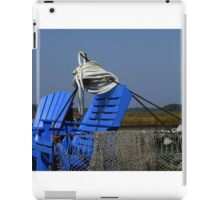 Blue Chairs on the end of the Dock iPad Case/Skin