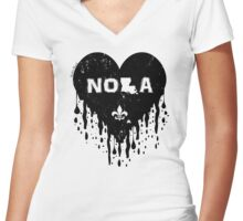 Melting NOLA Heart (Black) Women's Fitted V-Neck T-Shirt