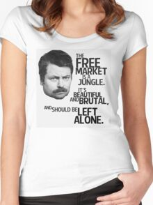 Ron Swanson Libertarian Free Market Capitalist Women's Fitted Scoop T-Shirt