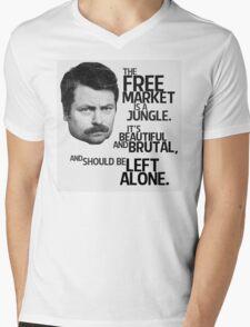 Ron Swanson Libertarian Free Market Capitalist Mens V-Neck T-Shirt