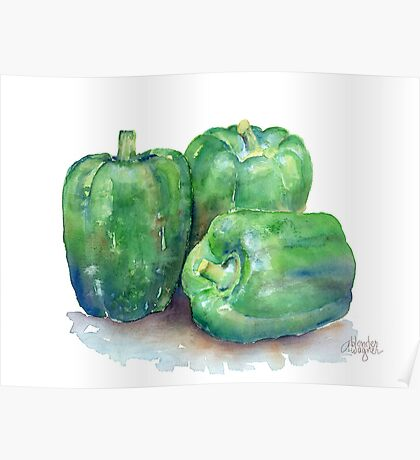 Green Bell Peppers Poster