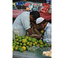 Limes for sale, Old Delhi street market Photographic Print