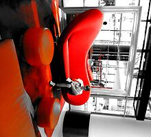 Black and White In A Big Red Chair by slkuskopf