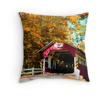 Historic Covered Bridge in Autumn, Western Pennsylvania Throw Pillow