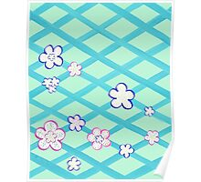 Baby Blue Flower Garden Poster