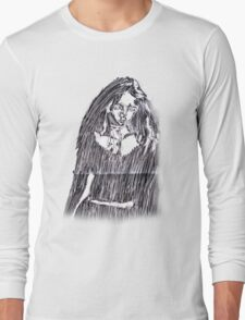 Scratchy-Etched Girl Long Sleeve T-Shirt