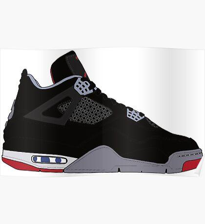 """Air Jordan IV (4) """"Bred"""" Poster"""