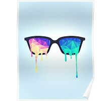 Psychedelic Nerd Glasses with Melting LSD/Trippy Color Triangles Poster