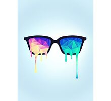 Psychedelic Nerd Glasses with Melting LSD/Trippy Color Triangles Photographic Print