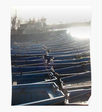 Blue Boats Side by Side Poster