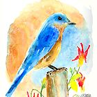 Blue Bird On A Post by arline wagner