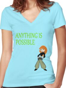 Anything Is Possible - Kim Possible (Designs4You) Women's Fitted V-Neck T-Shirt