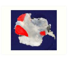 Santa At the South Pole Art Print