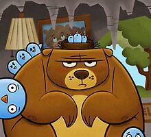 Grumpy Bear, Pesky Birds by Sean Celaya