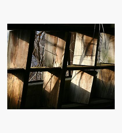 sunlight on some old shelves Photographic Print
