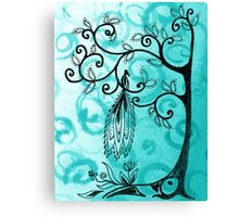 Whimsical Tree And Magical Bird Canvas Print