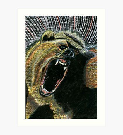 184 - RAW ENERGY (GRIZZLY BEAR) - DAVE EDWARDS - COLOURED PENCILS & GOUACHE - 2007 Art Print