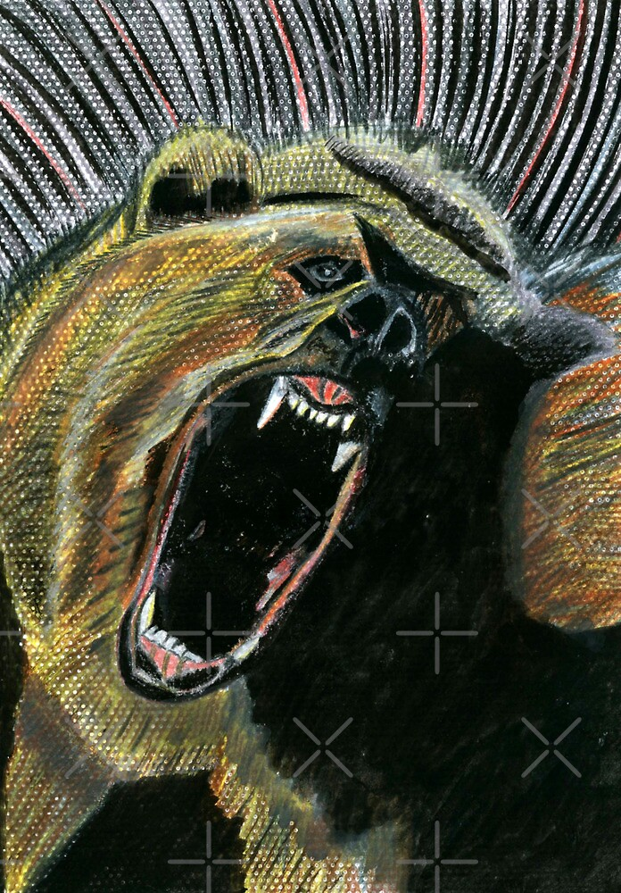 184 - RAW ENERGY (GRIZZLY BEAR) - DAVE EDWARDS - COLOURED PENCILS & GOUACHE - 2007 by BLYTHART