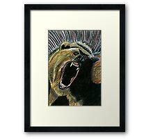 184 - RAW ENERGY (GRIZZLY BEAR) - DAVE EDWARDS - COLOURED PENCILS & GOUACHE - 2007 Framed Print