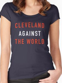 Cleveland Against the World - Browns Colors Women's Fitted Scoop T-Shirt