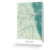 Chicago Map Blue Vintage Greeting Card