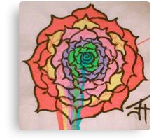 Melting Rainbow Rose Canvas Print