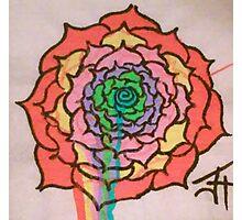 Melting Rainbow Rose Photographic Print