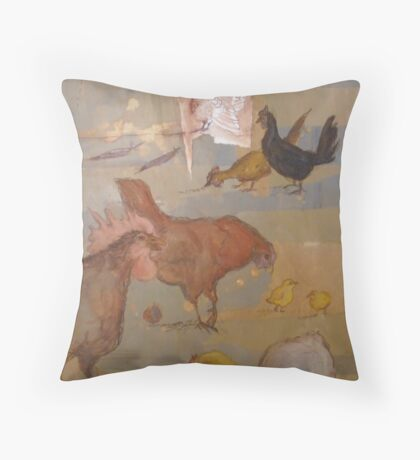 No Body Here But Us Chickens Throw Pillow
