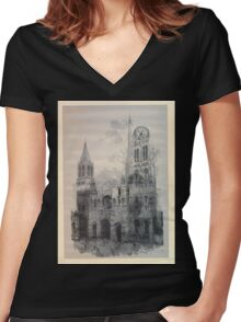 Auguste Lepère Façade of Rouen Cathedral by Auguste Lepère Women's Fitted V-Neck T-Shirt