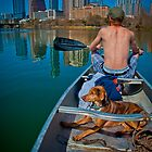 A Dude and A Dog on Austin Lake by Roschetzky