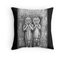 catch of the day vintage black Throw Pillow