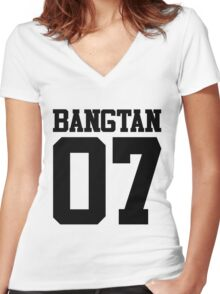 BTS/Bangtan Boys Jersey Style w/Number Women's Fitted V-Neck T-Shirt