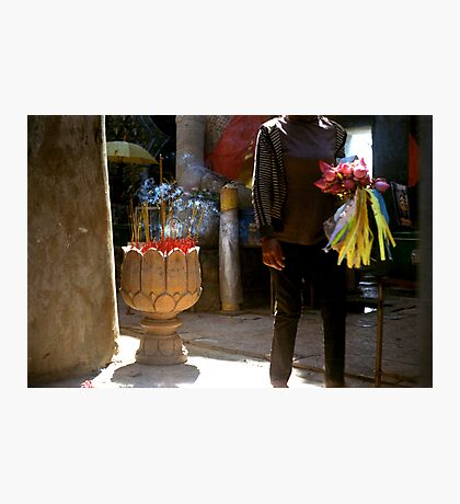 anonymous gift, oudong, cambodia Photographic Print