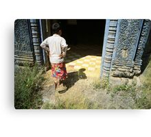 at the doorway, oudong, cambodia Canvas Print