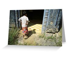at the doorway, oudong, cambodia Greeting Card